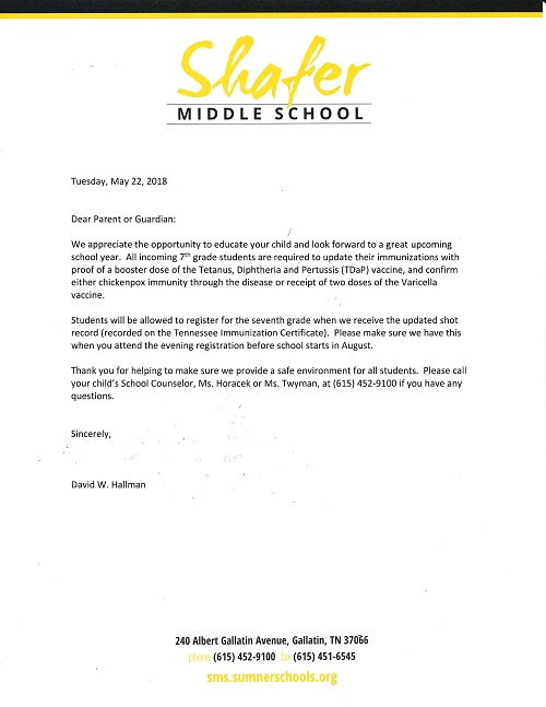 letter to 7th parents
